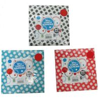 See more information about the 30 Pack of Lunch Napkins - White with Black Spots