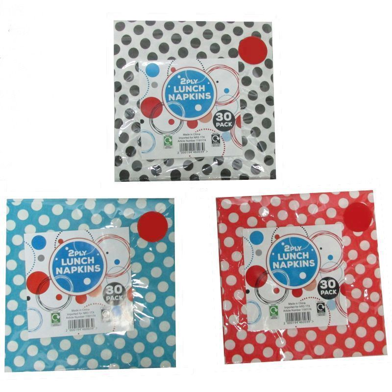 30 Pack of Lunch Napkins - Red with White Spots