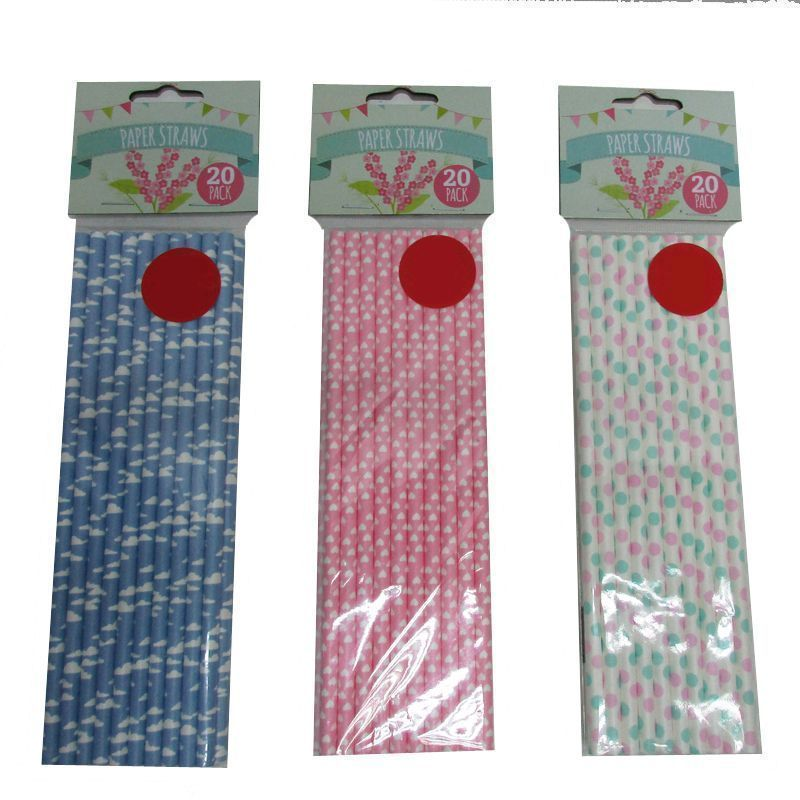 20 Pack of Paper Straws - Pink & Green Spots