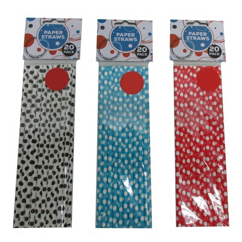 20 Pack of Paper Straws - White with Black Spots