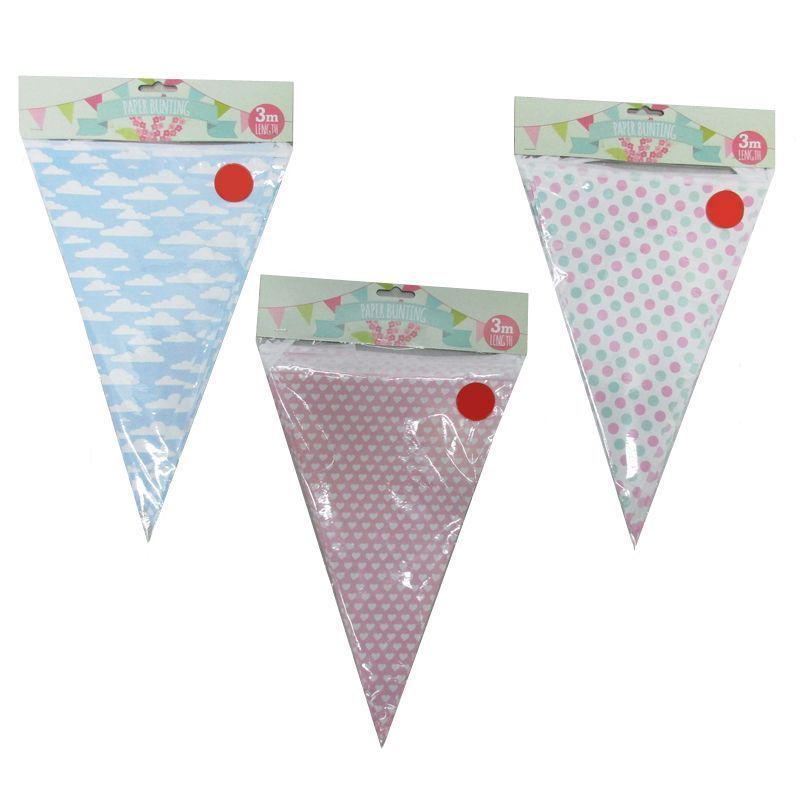 3 Metre Paper Bunting Triangles - Pink with White Hearts