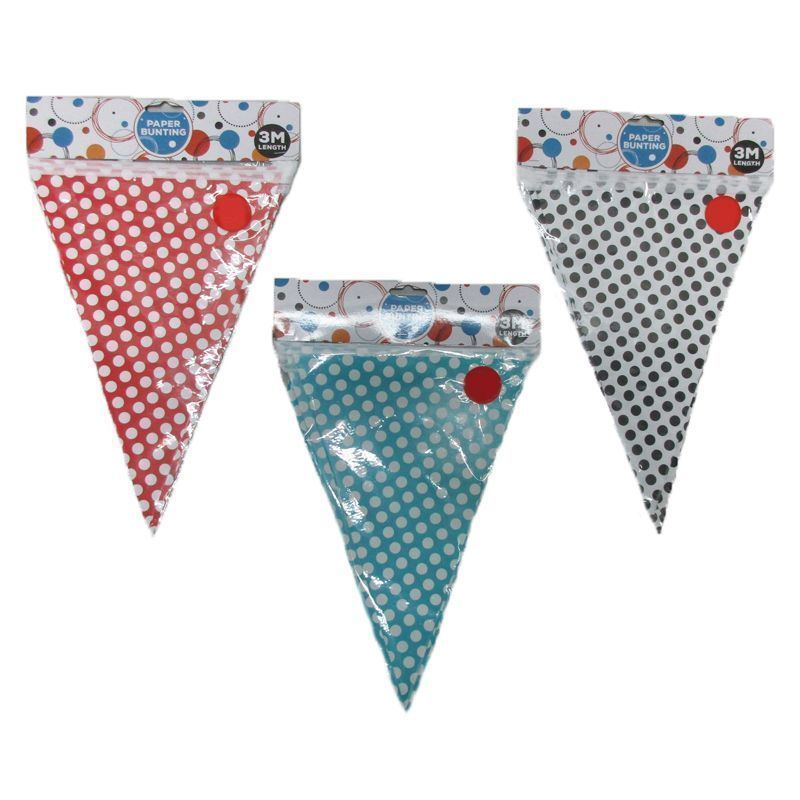 3 Metre Paper Bunting Triangles - Red with White Spots