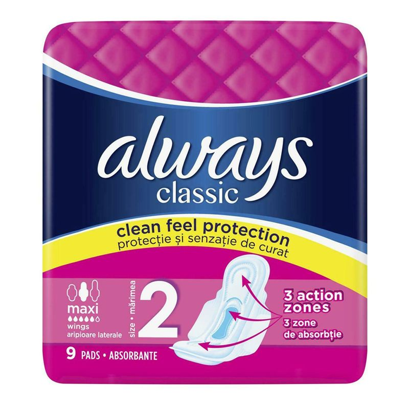 Always Classic Maxi Long Sanitary Towels 9 Pack
