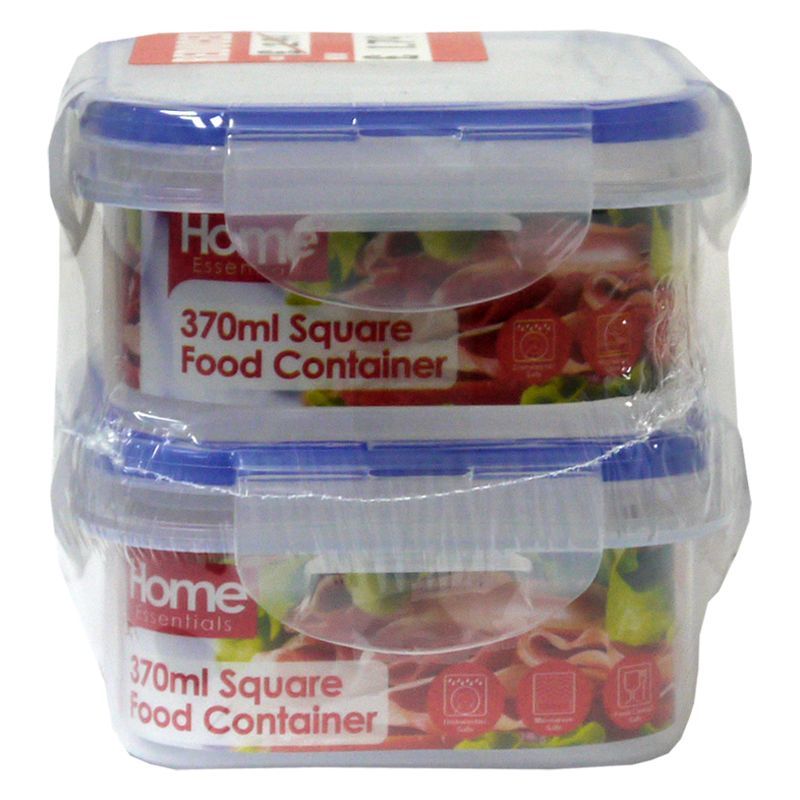 2 Pack 370ml Square Food Containers