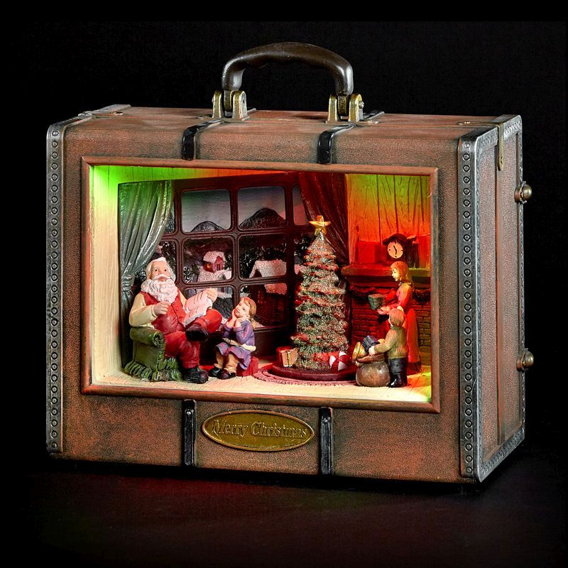 Santa Inside Suitcase Display with LED Lighting