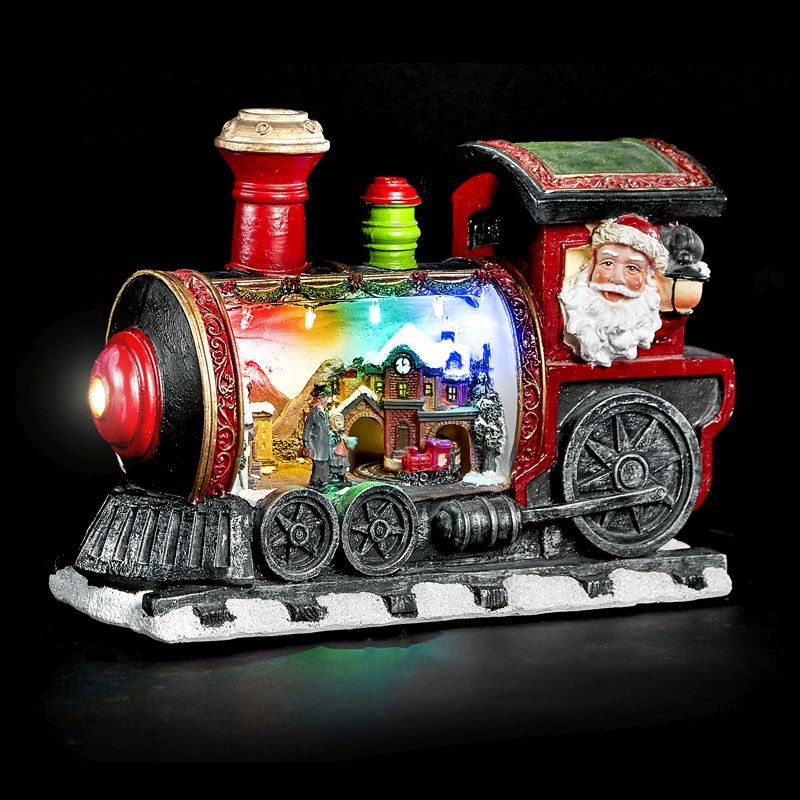 Christmas Turning Train Scene In Locomotive with LED Lighting