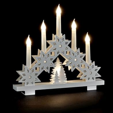 6 White LED Wood Candle Bridge