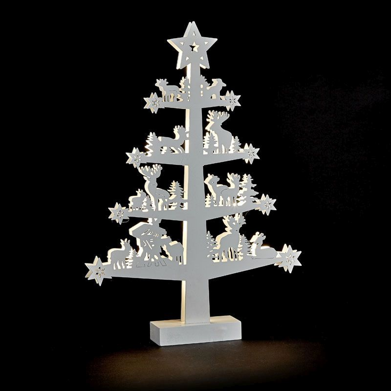 Light Up White Tree Carved Wood
