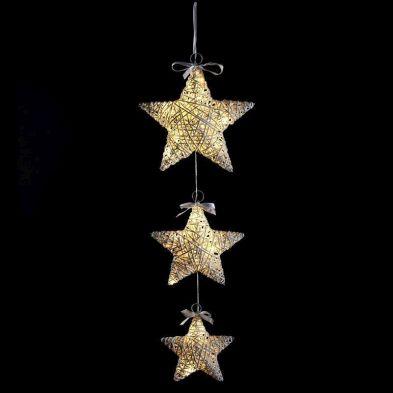 20 LED Warm White Indoor Hanging 3 Set Stars Christmas Lights Battery