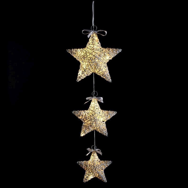 3 Set Stars Lights 20 Bulb Warm White