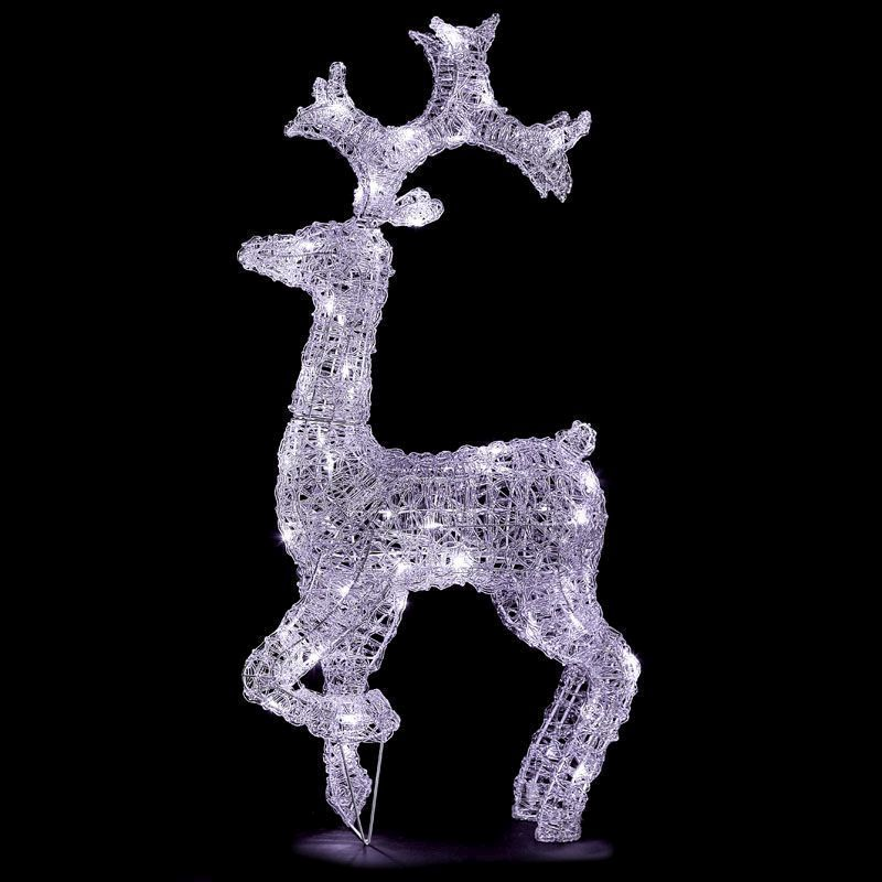 Acrylic Standing Reindeer White LED Garden Decoration