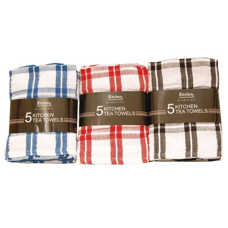 5 Pack Kitchen Tea Towels - Red