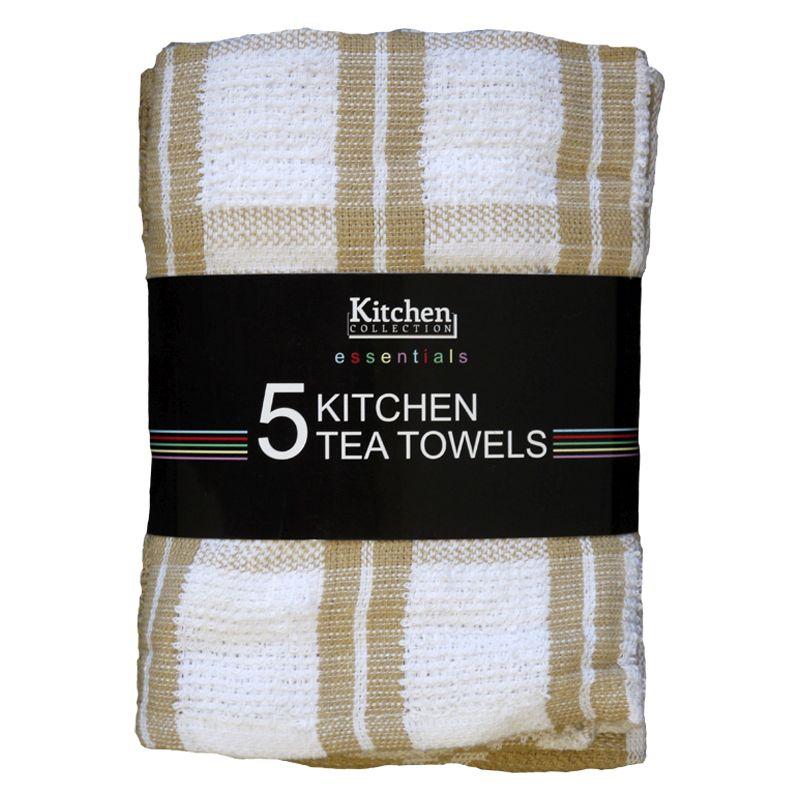 Essentials 5 Pack Kitchen Tea Towels