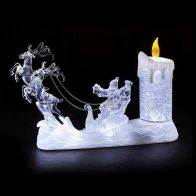 See more information about the LED Santa Sleigh Scene With Glitter Candle