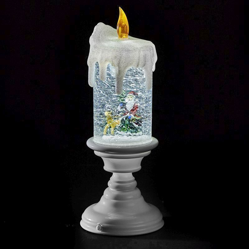 LED White Glitter Candle Flicker
