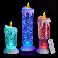 See more information about the Set Of 3 Led Water Glitter Candles