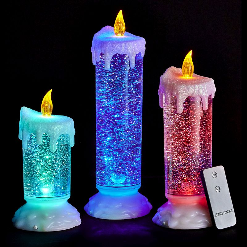 Set Of 3 Led Water Glitter Candles