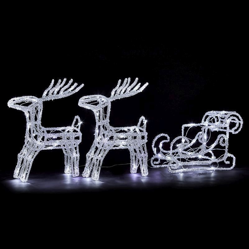 96 LED Ice White Outdoor Two Reindeer & Sledge Decoration Mains 37cm