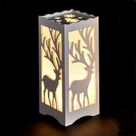 See more information about the Plastic Table Lamp 10x10x23cm - Reindeer
