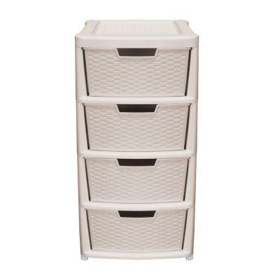 124L Simply Rattan 4 Drawer Plastic Storage Tower Cream