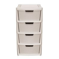 See more information about the 135L Simply Rattan 4 Drawer Plastic Storage Tower Mushroom