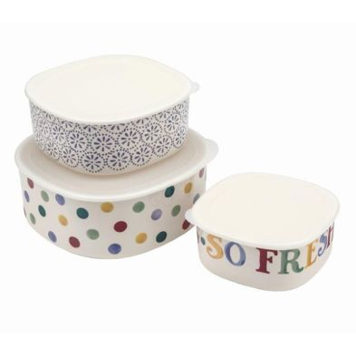 Polka Dot Melamine Set of 3 Kitchen Storage Containers