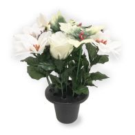 See more information about the Poinsettia & Pine Cone Grave Pot - Cream