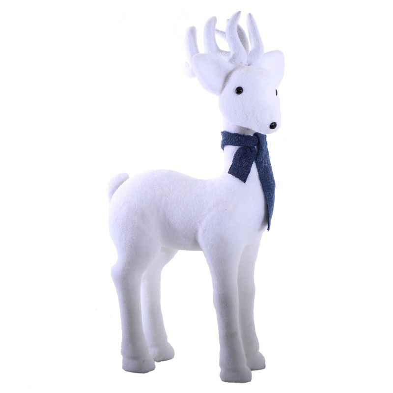 Foam Deer With Blue Scarf Christmas Decoration