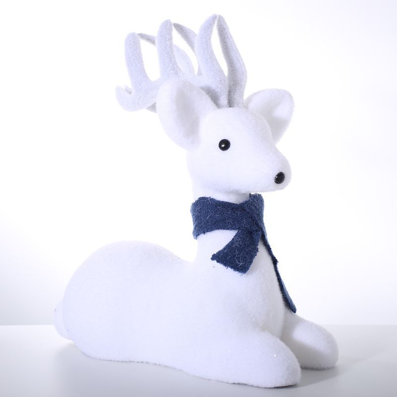 Foam Lying Deer With Blue Scarf Christmas Decoration