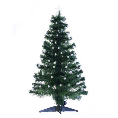 120cm (3 Foot 11 Inch) Green Spikey Ball Fibre Optic Christmas Tree