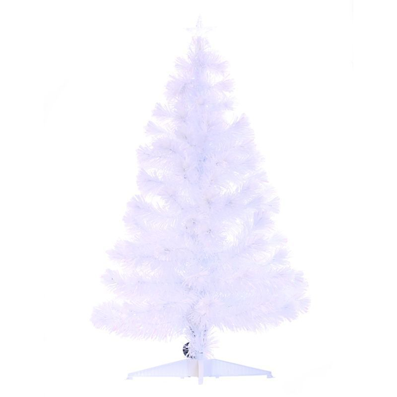 120cm (3 Foot 11 Inch) White Spikey Ball Fibre Optic Christmas Tree