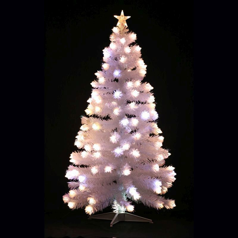 150cm (4 Foot 11 inch) White Spikey Ball Fibre Optic Christmas Tree