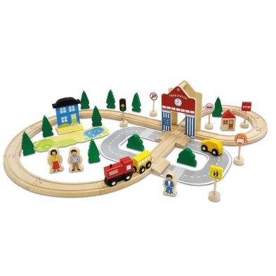 50 Pieces Wooden Train Set