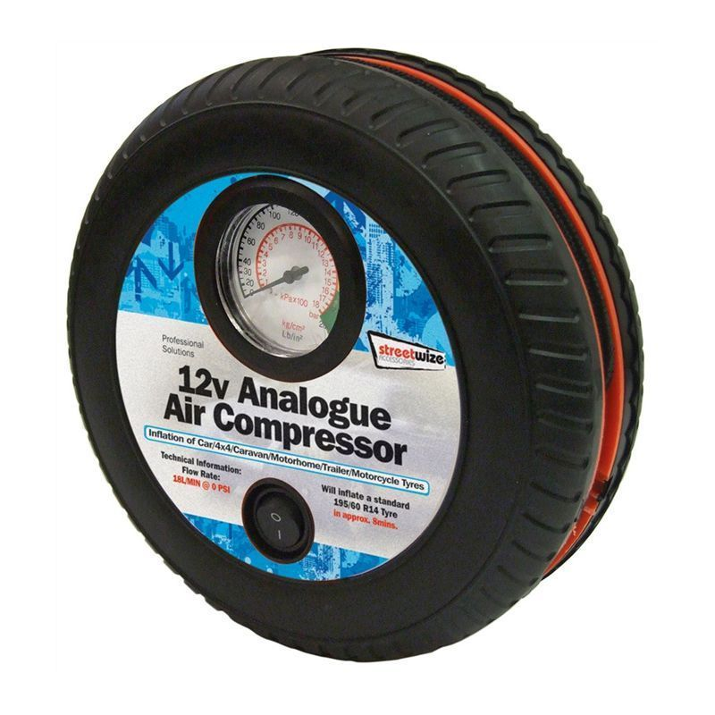 Streetwize 12v Air Compressor - Tyre Shape with Gauge