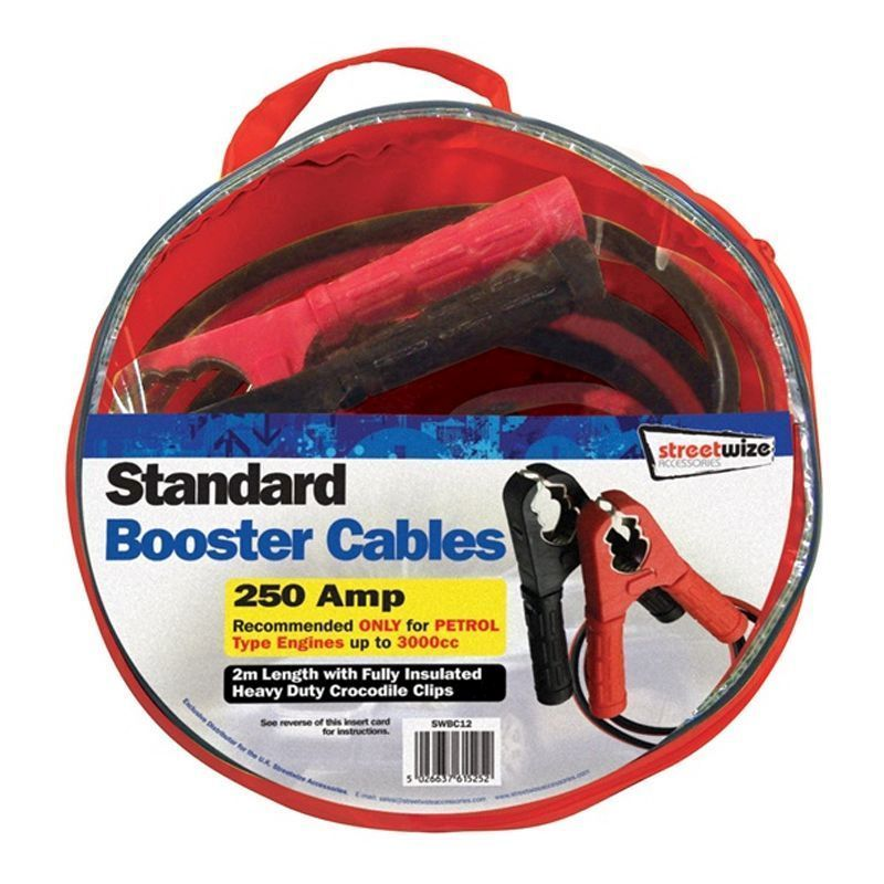 Streetwize 2 Metre Booster Cables Standard (HD 250AMP)