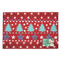 See more information about the JVL Coir Door Mat 40 x 60cm Red With Christmas Trees & Stars