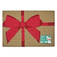 See more information about the JVL Christmas Coir Door Mat 40 x 60cm Parcel With Red Bow