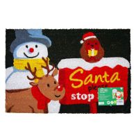 See more information about the JVL Christmas Coir Door Mat 40 x 60cm Santa Stop Here