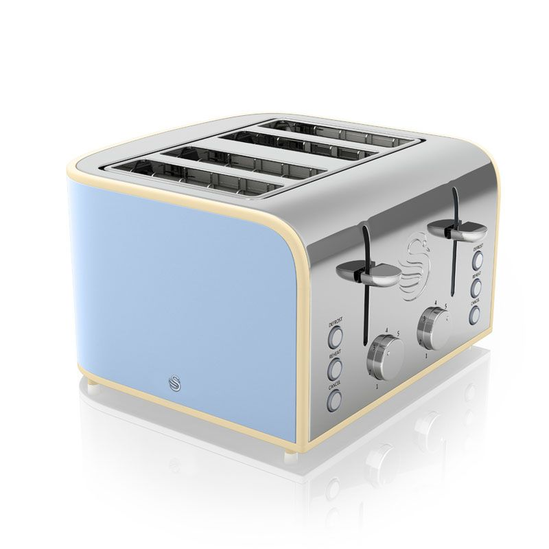 4 Slice Retro Toaster Blue