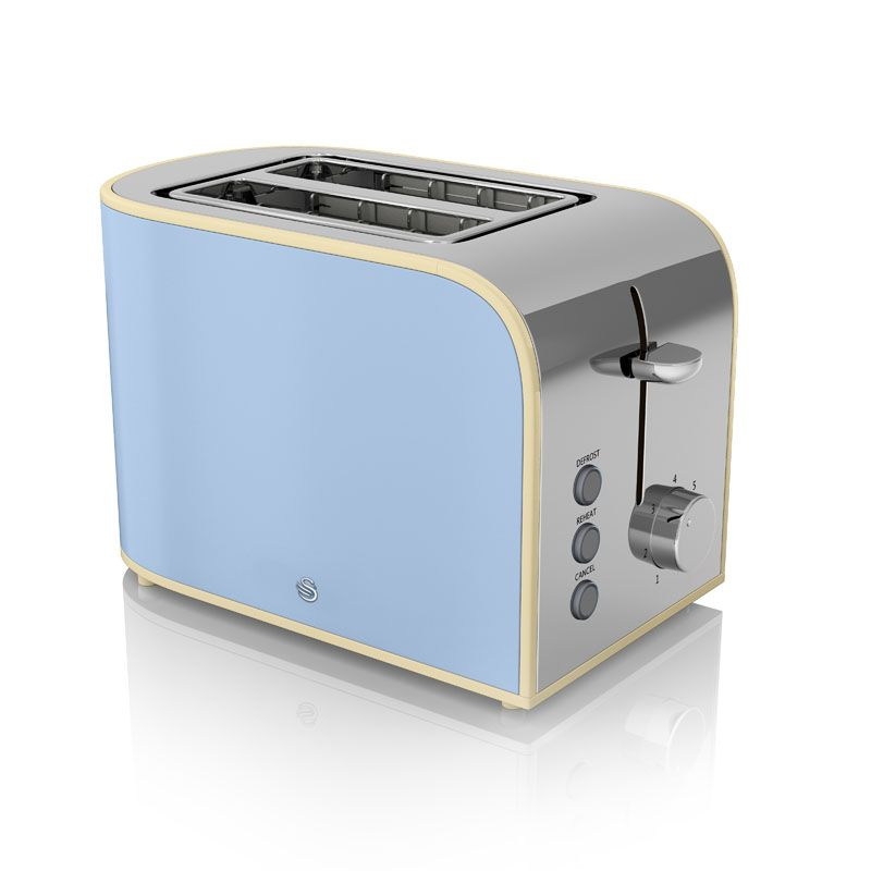 2 Slice Retro Toaster Blue