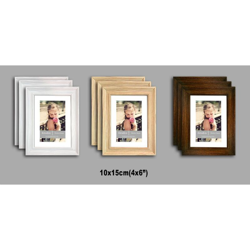 3 Pack of MDF New Grace Picture Frames 4x6 Inches - Black