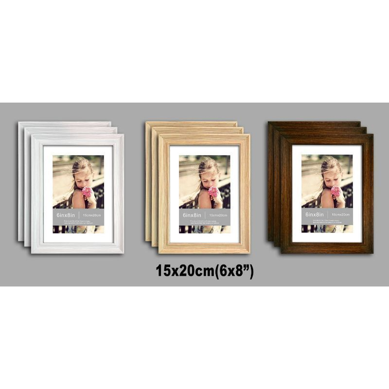 3 Pack of MDF New Grace Picture Frame 6x8 Inches - White