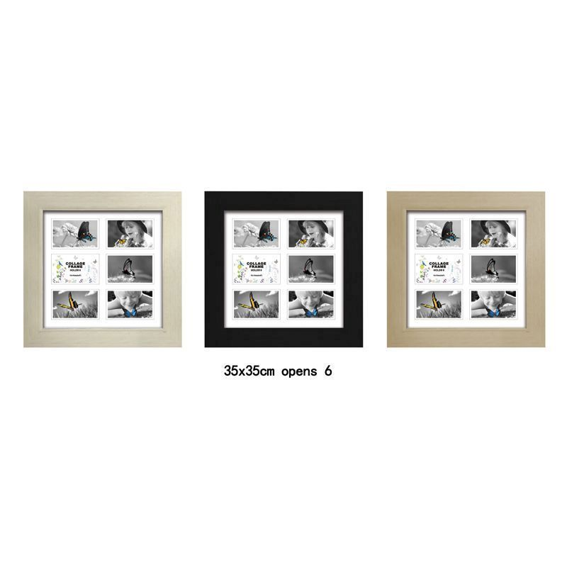 MDF 30mm Collage Picture Frame 35x35cm 6 Spaces - Ash Wood
