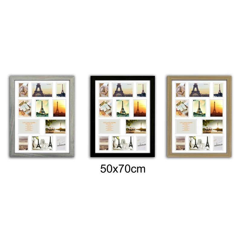 Collage Picture Frame 50x70cm 11 Spaces - Wood Grain