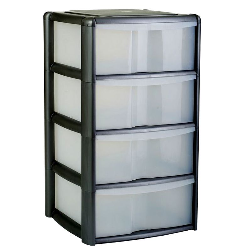 4 Drawer Bambu Tower Black/Clear