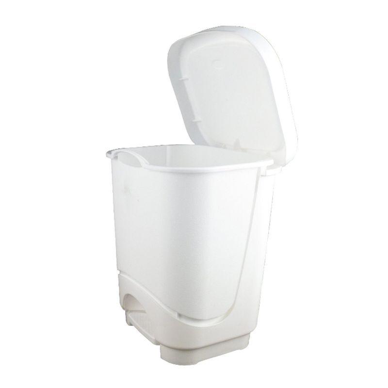 small white 8 litre pedal bin buy online at qd stores. Black Bedroom Furniture Sets. Home Design Ideas
