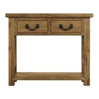 See more information about the Rustic Console Table Pine 1 Shelf 2 Drawer