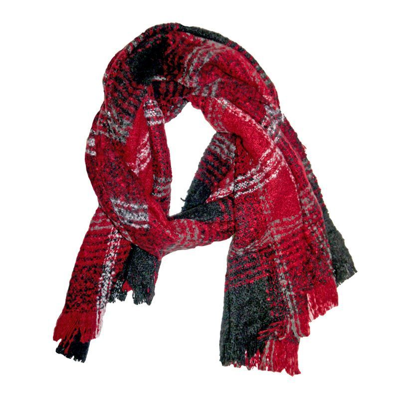 Blanket Scarf - Red And Black Check