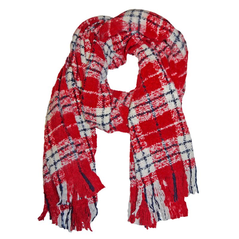 Blanket Scarf - Red And White Check