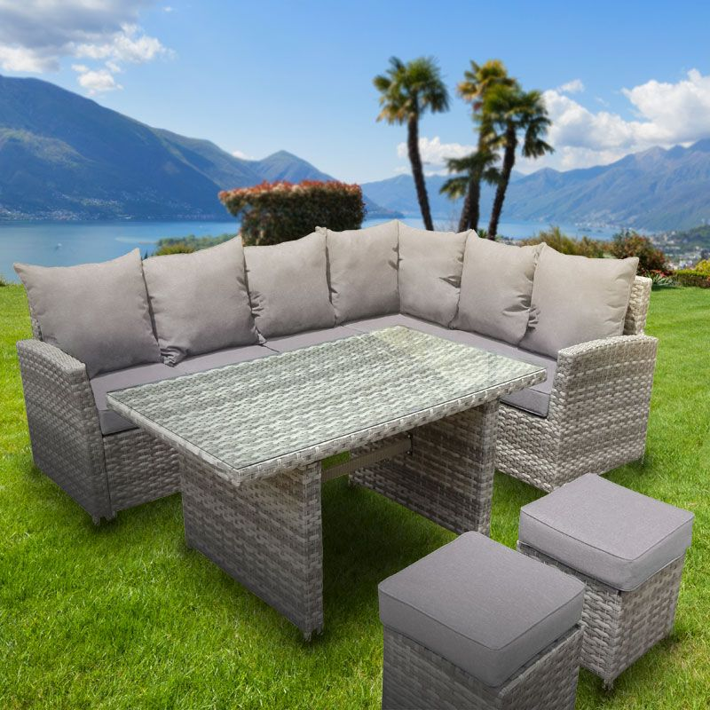 Buy Garden Corner Sofa: Monaco 8 Seater Rattan Corner Dining Set